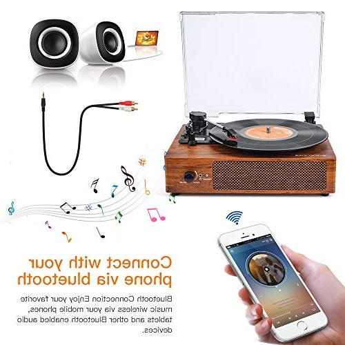 Record Player Bluetooth with Stereo Speaker Vintage Style Vinyl Record
