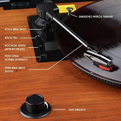 Record Geekoala Vinyl Turntable Record Player with Stereo Recording,