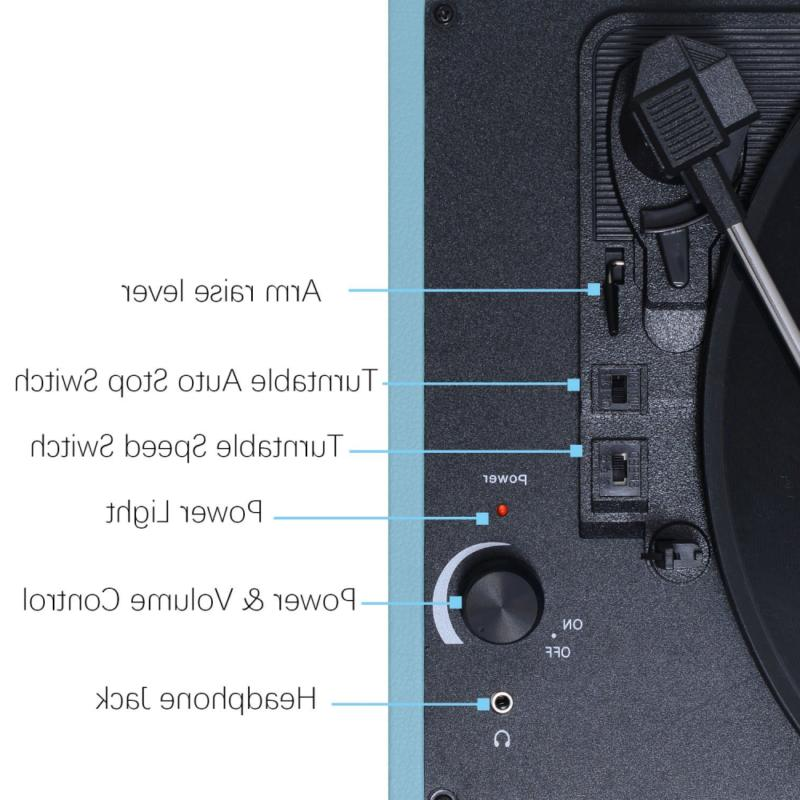 Musitrend Record Player Vinyl Turntable with Speed