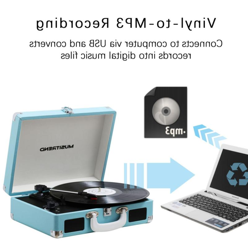 Musitrend Turntable with Speakers, Speed Suitcase