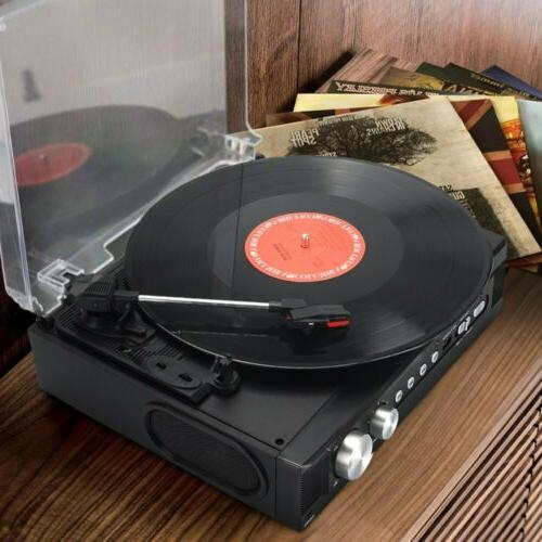 retro vinyl record player stereo turntable fm