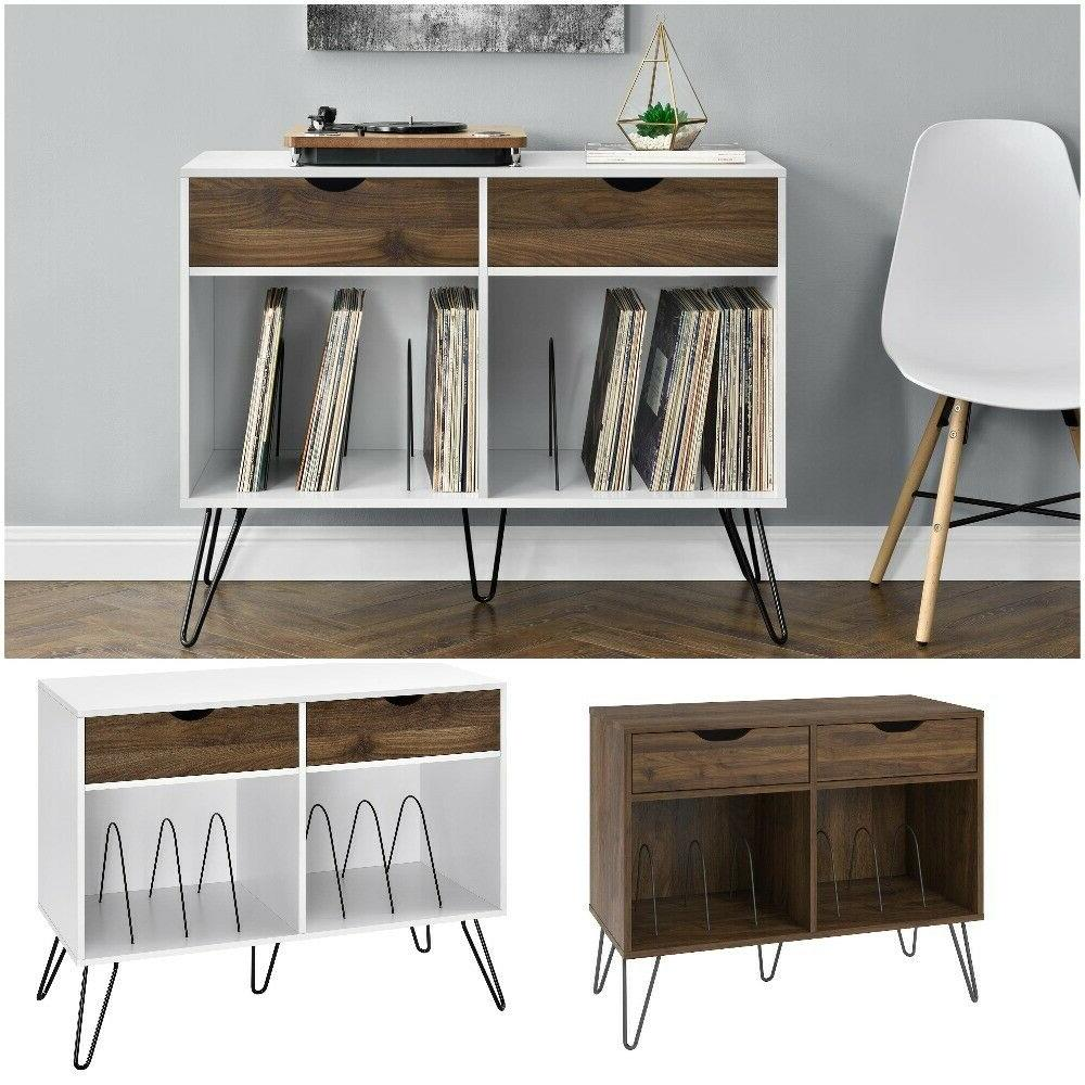 turn table record player stand storage cabinet
