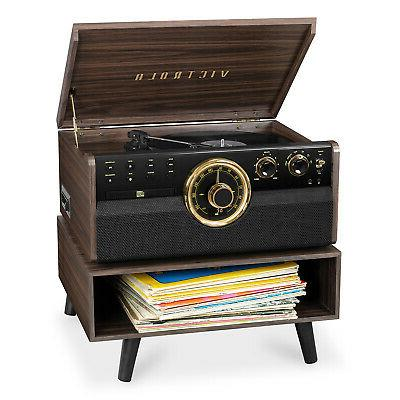 turntable 6 in 1 wood bluetooth record