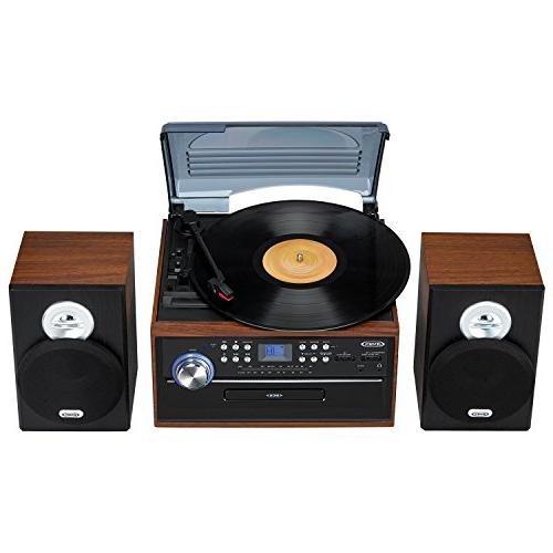 Jensen 3-Speed Music System LCD Display Loading AM/FM Player Jack & Wooden