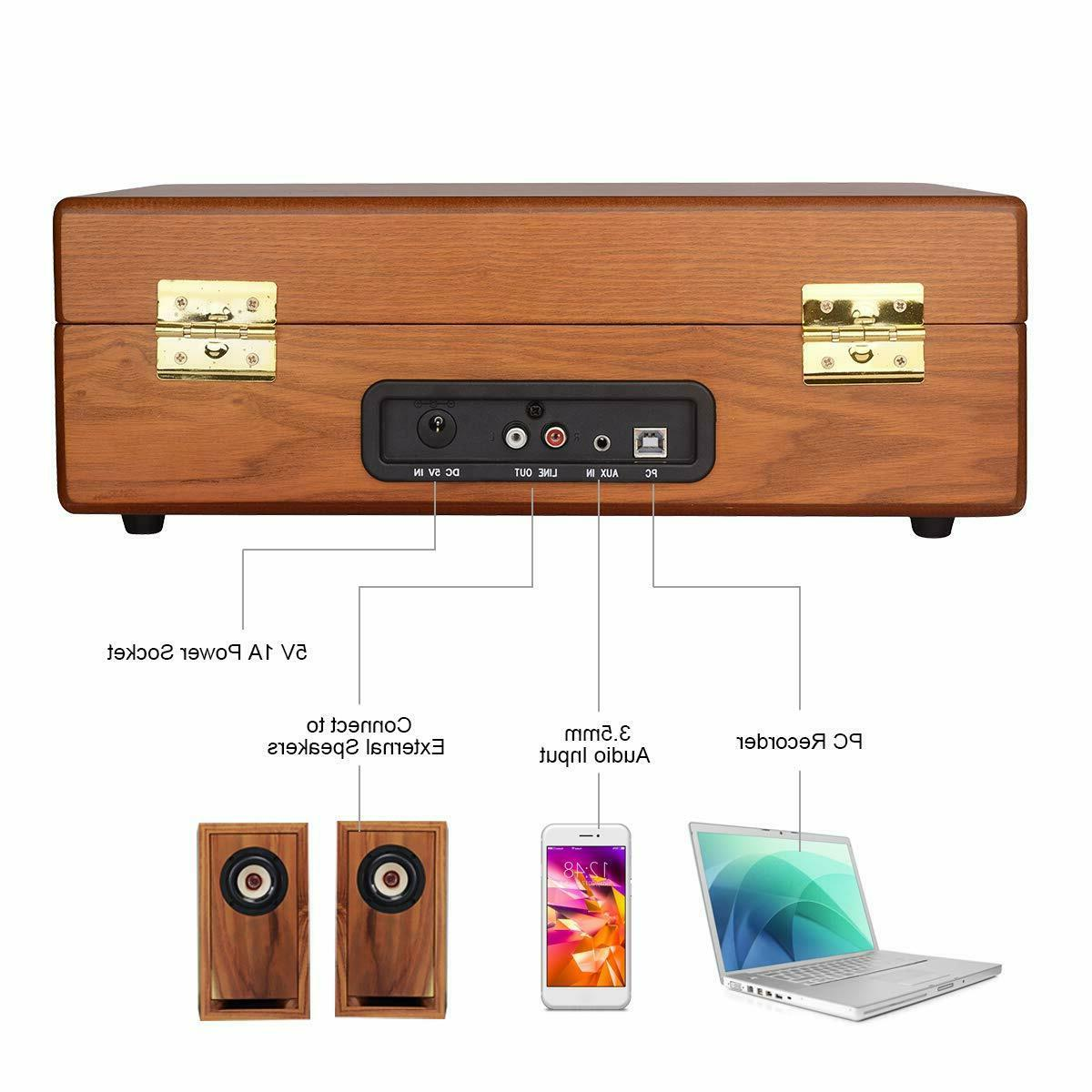 Musitrend Turntable Record Player Built-In Speaker Wood NEW!