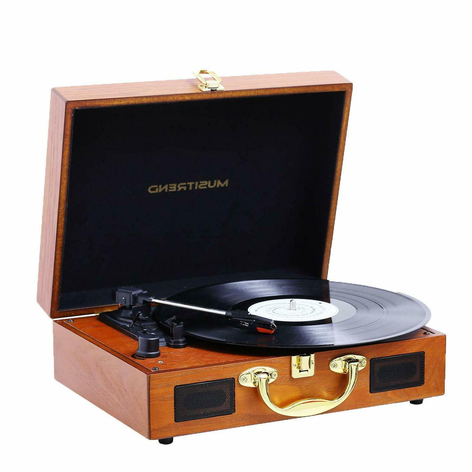 turntable portable suitcase record player built in