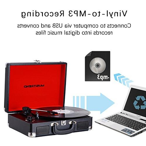 Musitrend Turntable Suitcase Record Speakers, PC Recorder, Jack, Black/Red