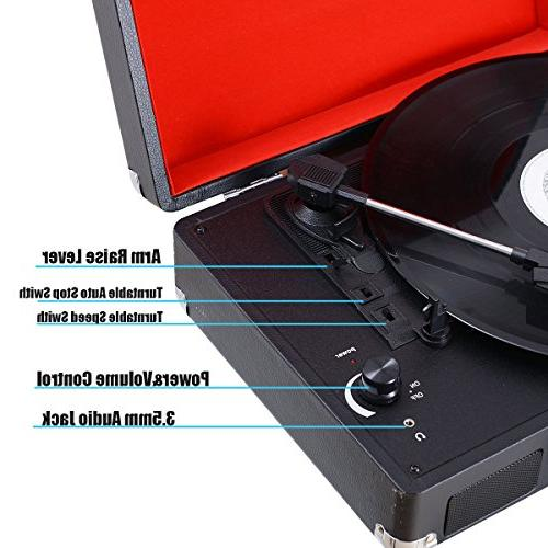 Musitrend Turntable Portable Record Player with Speakers, Recorder, Jack, RCA Black/Red