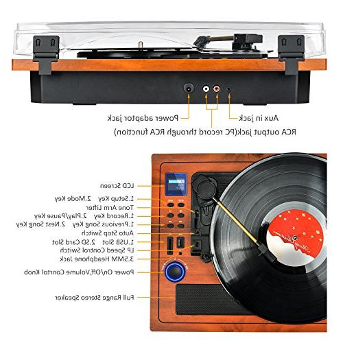Turntable Vinyl Player Wireless in Out Player in Speakers Vinyl 3 Turntable Recording USB Player
