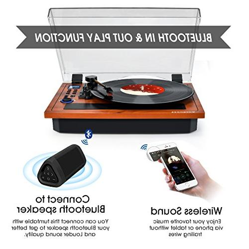 Turntable Vinyl Record Player Wireless in & Out in Speakers Turntable Vinyl Speed Turntable Recording USB SD LP Player