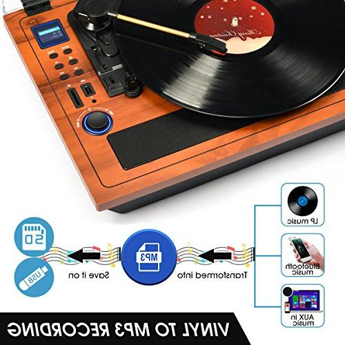 Turntable Wireless Out Built in Stereo Vinyl Records 3 Speed Turntable Player Recording SD Player