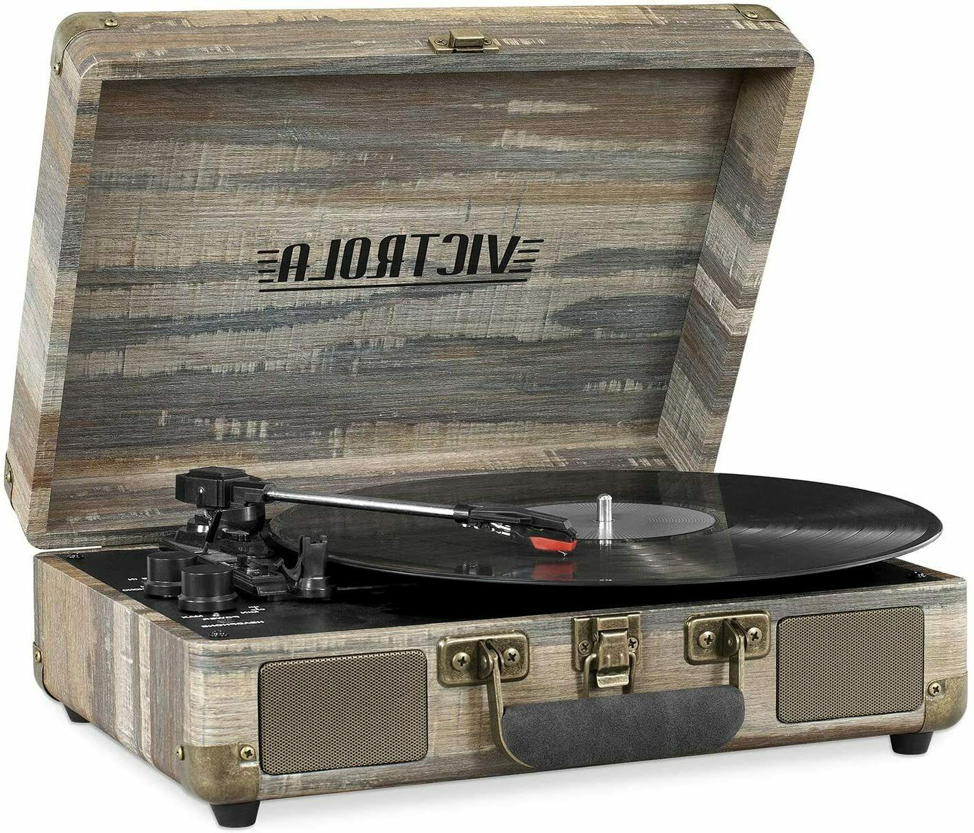 vintage 3 speed bluetooth portable suitcase record
