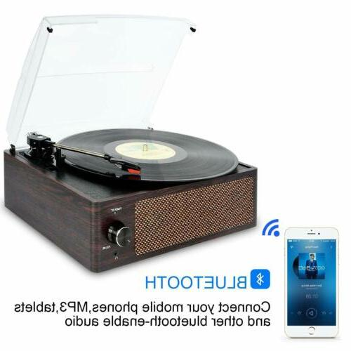 Bluetooth Record Player Belt-Driven 3-Speed Turntable Built-