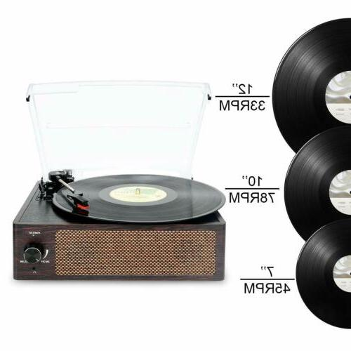 Bluetooth Vinyl Record Player 3-Speed Turntable Aux