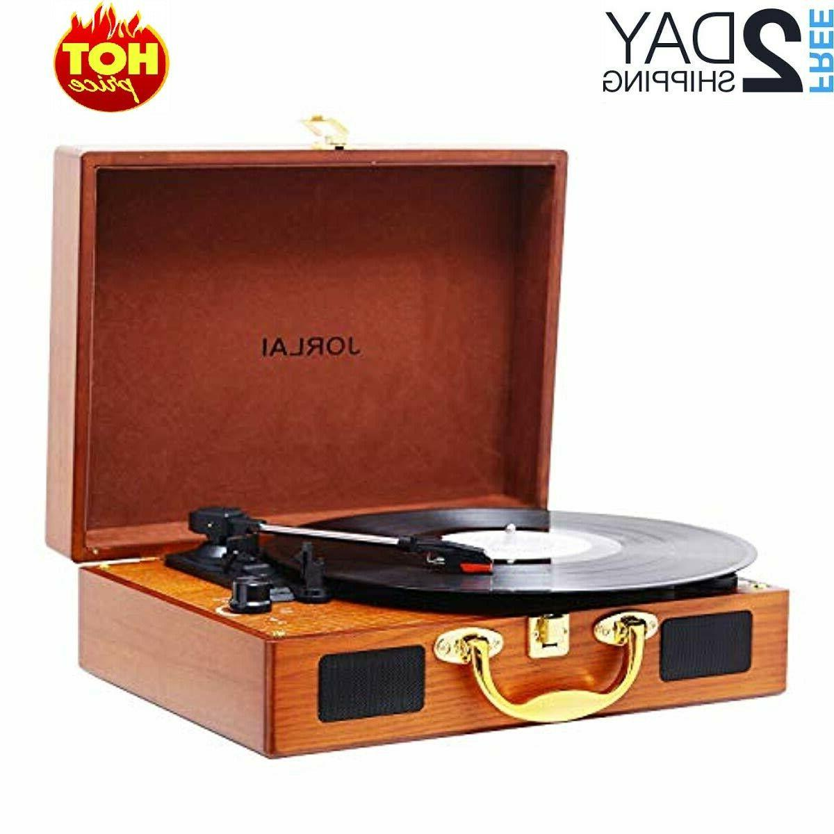 vinyl record player 3 speed suitcase turntable