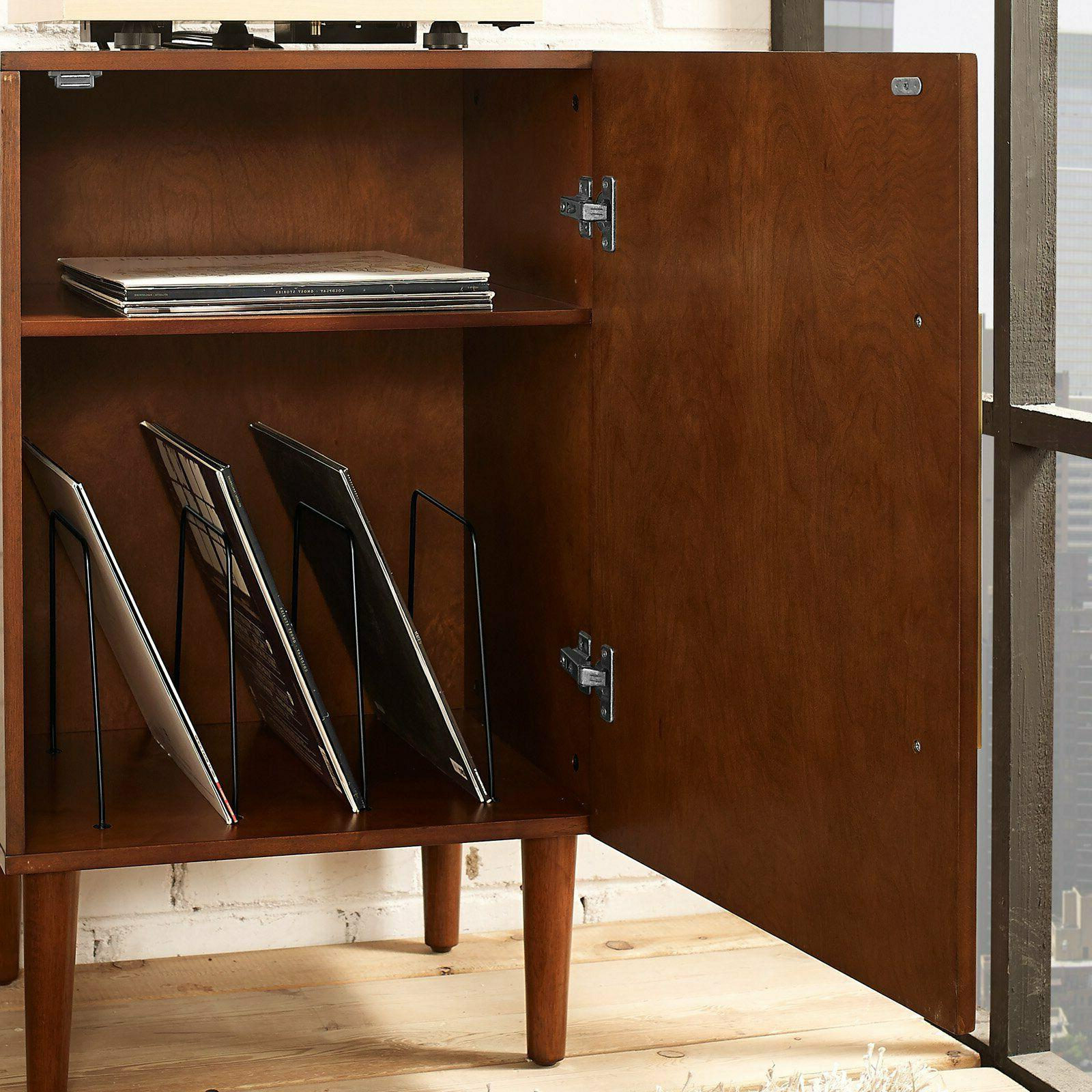 Record Player Rack LP Storage Cabinet Wood Furniture