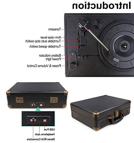 GOODNEW Turntable, Built Support & RCA Output and AUX Jack