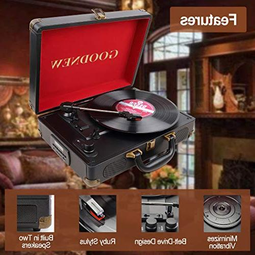 GOODNEW Vinyl Player Turntable, in Speakers, Support & Output Jack