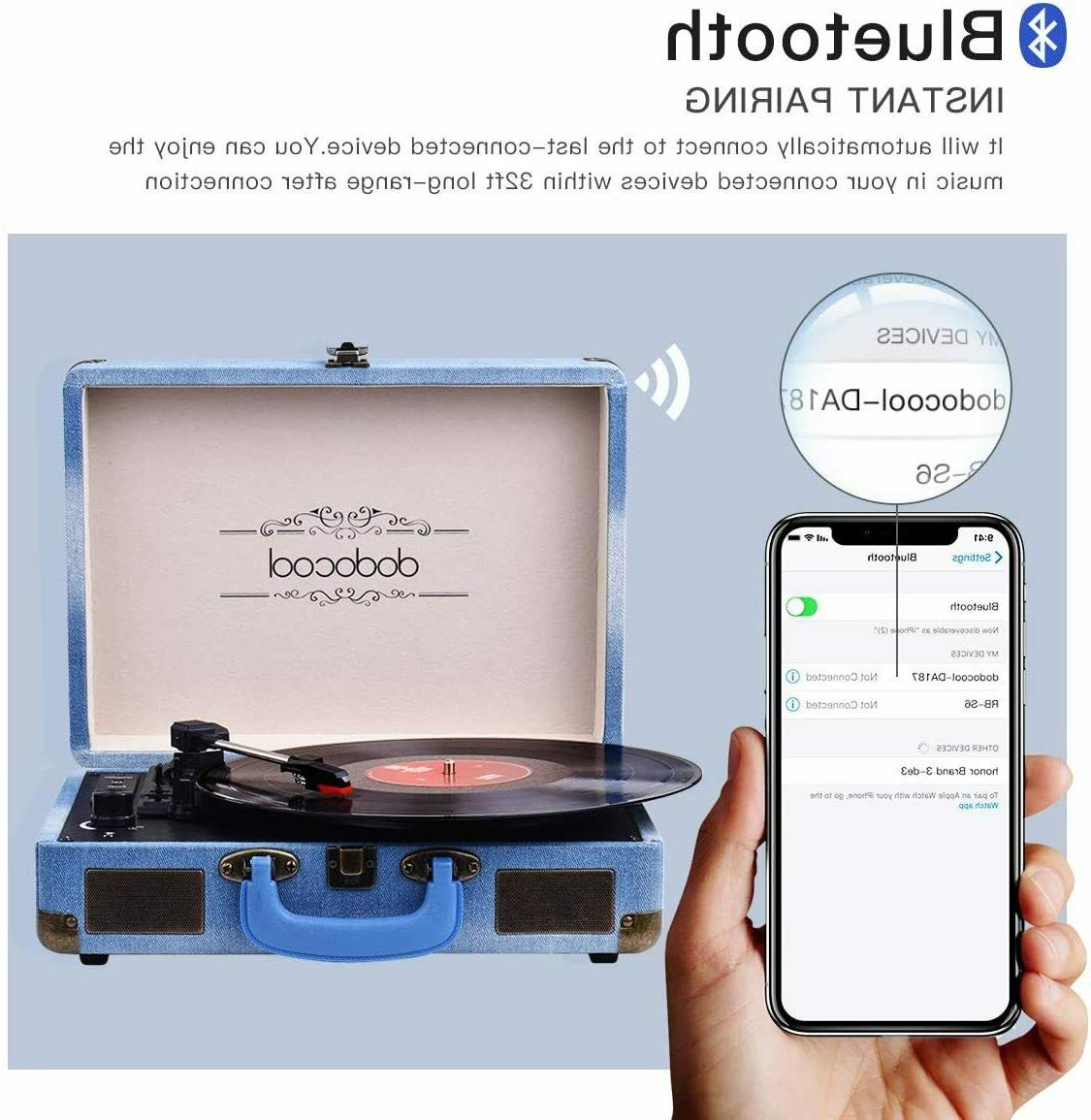 Vinyl Vintage Turntable 3-Speed BlueTooth...