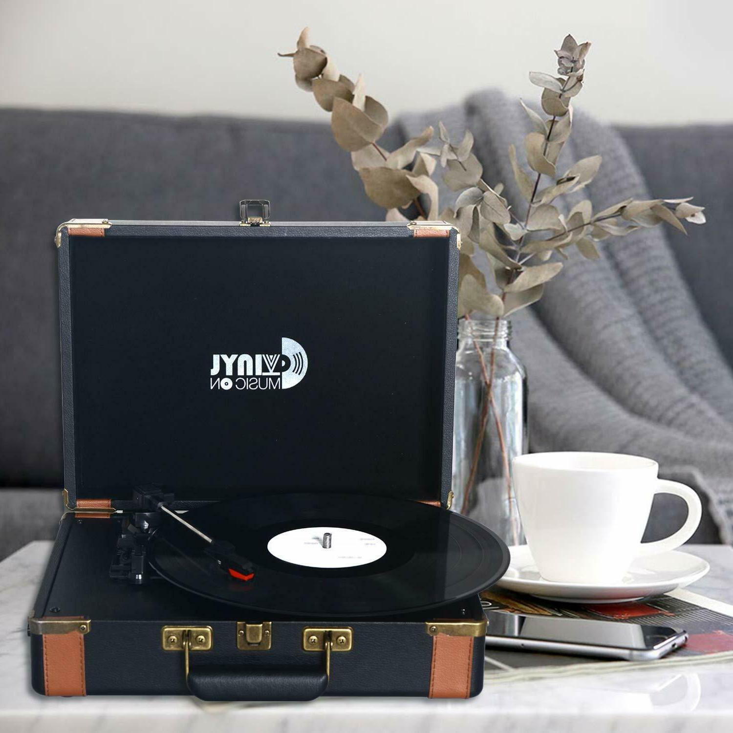 VMO Suitcase Turntable Speakers,Portable Vinyl Record Player with