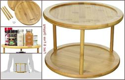 Lazy Susan 2 Tier Bamboo Shelf Turntable Spice Storage Rack