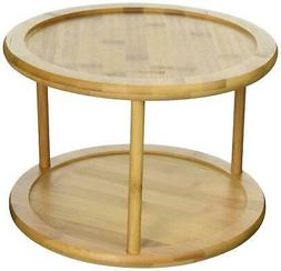 Lazy Susan Bamboo Turntable Kitchen Organizer Rack Spice Sto