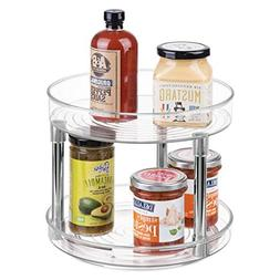 mDesign 2 Tier Lazy Susan Turntable Food Storage Container f