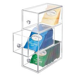 mDesign Kitchen Storage Organizer for Tea Bags, Sugar, Salt,