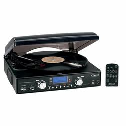 New Jensen 3-Speed Turntable Stereo Speakers AM/FM USB/SD Vi