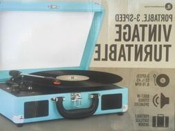 New 3 Speed Vinyl Turntable Suitcase With Built in Speaker I