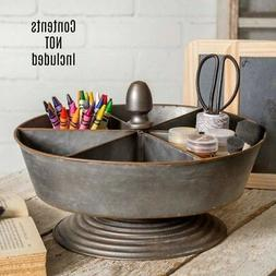 New Primitive Farmhouse Metal Round Divided Basket Stand Tur