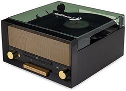 ClearClick All-in-One Turntable with CD Player, FM Radio, Bl