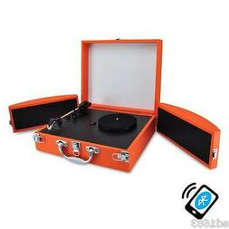 Orange Bluetooth Turntable Record Player PC & Mac Connection