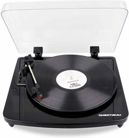 Musitrend Record Player 3-Speed Belt-Drive Turntable Built-i
