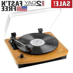 Musitrend Record Player 3-Speed Belt-Drive Turntable with Bu