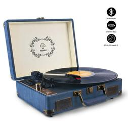 Record Player, LUKER Portable Suitcase Bluetooth Turntable f