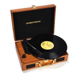 record player turntable portable suitcase with built