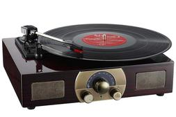 Record Player Vinyl Turntable with Speakers Wood Vintage Sty