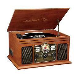 Record Player W Speakers 6-in-1 Nostalgic Bluetooth 3-Speed