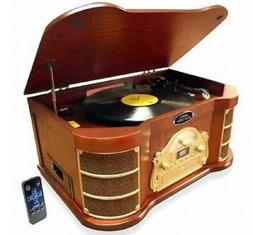 Retro Stereo Turntable Wood CD Recorder Cassette Record Play