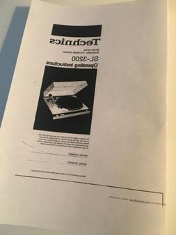 Technics SL-3200 Turntable Owners Instruction Manual Reprint