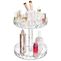 mDesign Spinning 2-Tier Lazy Susan Makeup Turntable Storage