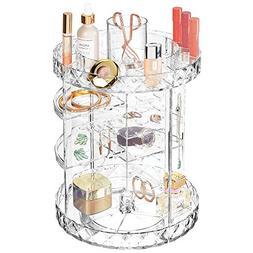 mDesign Spinning Multi Level Makeup & Jewelry Turntable Stor