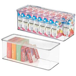 mDesign Stackable Plastic Kitchen Pantry Cabinet/Refrigerato