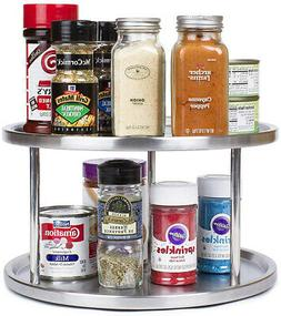 Stainless Steel Lazy Susan - 2 Tier Design, 360-degree Turnt