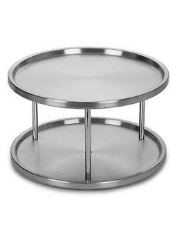 Stainless Steel Lazy Susan 2 Tier Turntable Kitchen Organize