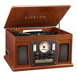 Victrola Stereo Shelf System 3-Speed Record Turntable Built-
