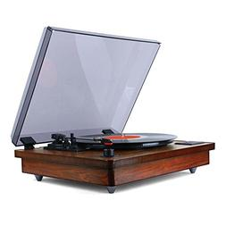 Tyler TTT603-MH Mahogany Record Player Stereo System with Bu
