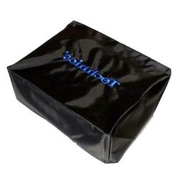 Technics Turntable Deck Covers: Black w/ Electric Blue Embro
