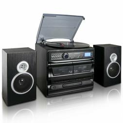 Trexonic 3-Speed Turntable With CD Player, Dual Cassette Pla
